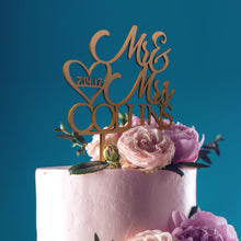 Mr & Mrs Cake Topper D-9 Glitter Gold