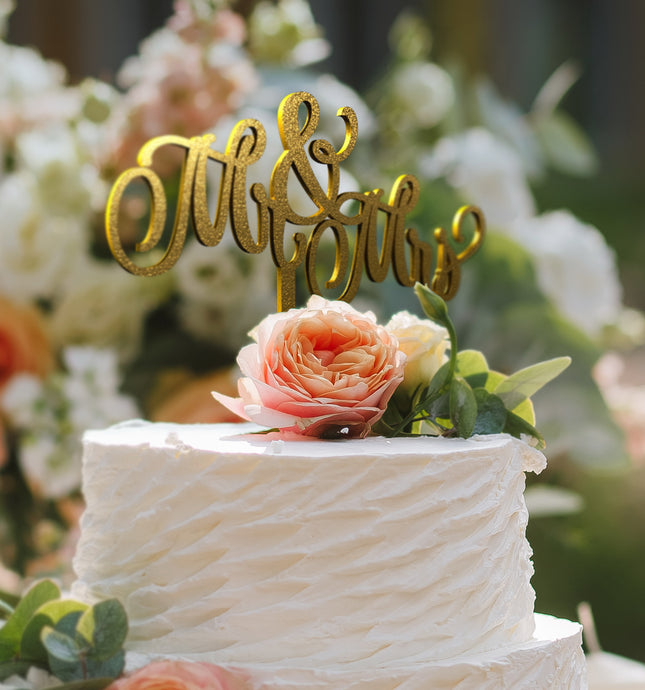 Mr & Mrs Cake Topper D-10 Glitter Gold
