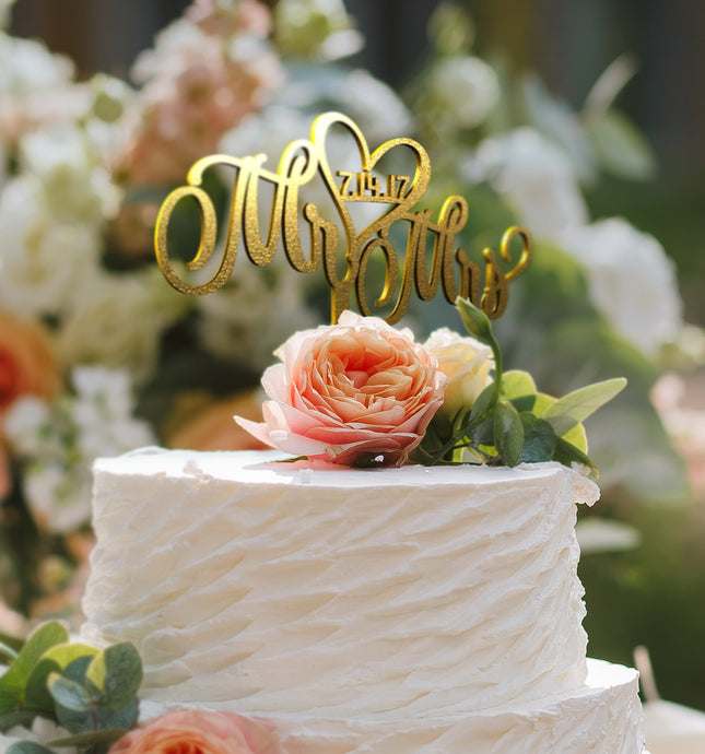 Mr & Mrs Cake Topper D-11 Glitter Gold