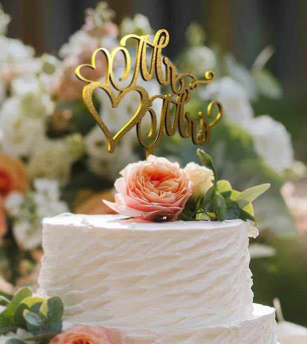 Mr & Mrs Cake Topper D-12 Glitter Gold