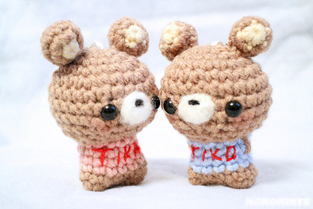 Valentine's Day Custom Order Handmade Amigurumi Bear Matching Couple Keychain Set