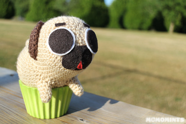 Amigurumi Stuffed Toy Puglie Stuck in a Cupcake
