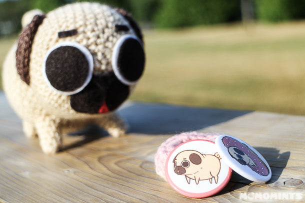 Puglie the Pug with Printed Button Pins