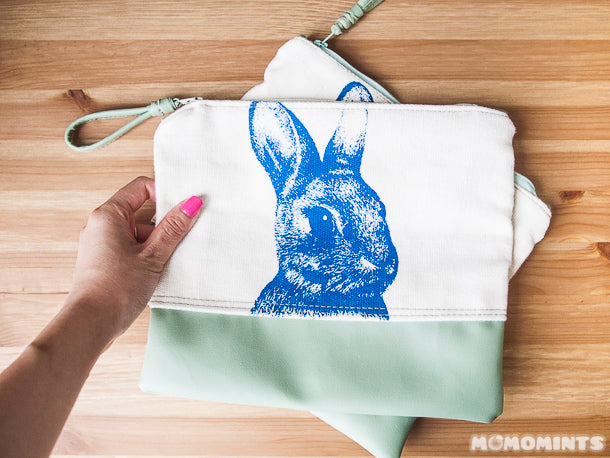 Leather and Canvas Zippered Pouch by Uppdoo with Rabbit Print