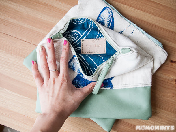Inside Lining of Custom Mint and Cream Zippered Pouch by Uppdoo
