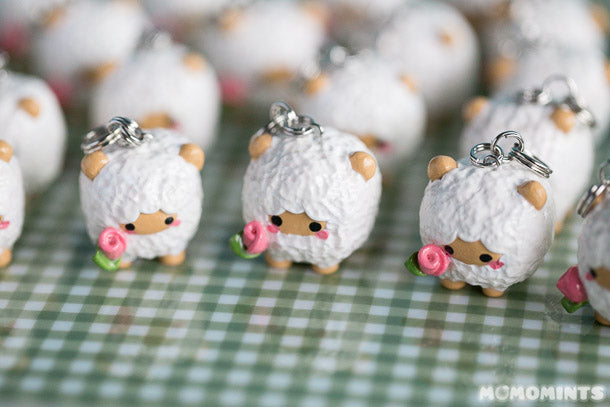 Custom Sheep Polymer Clay Charm Keychains for Lanolips Close-up