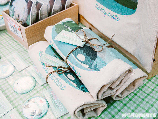 Packaged up Momo Totes Canvas Bags featuring an Orca Whale