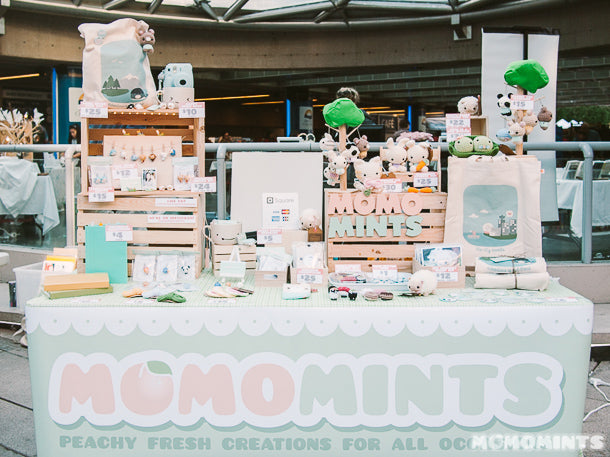 The Momomints Vendor Booth at Robson Square filled with Amigurumi and Polymer Clay Handmade Gifts and Accessories