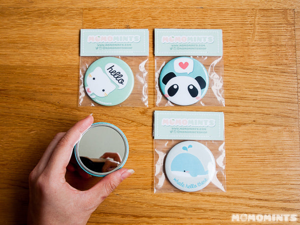 Packaging our New Fall Line up of Momomints Pocket Mirrors