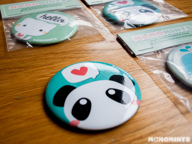 Momomints Cute Kawaii Pocket Compact Mirrors with Panda, Cat and Whale Designs