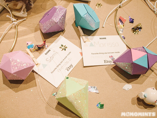 Glittery Paper Gems at the Etsy Craft Party at West Elm