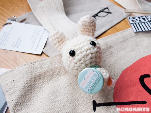 Accessorizing our Got Craft? Craft Fair swag bags with our favourite Mint Mint Bunny Keychain and button pin