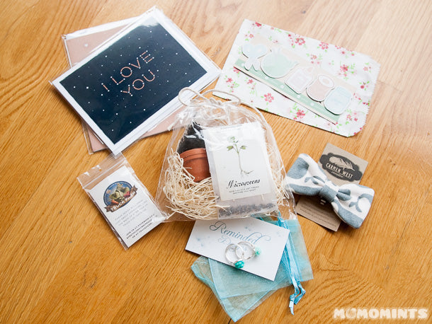 Sami's Got Craft? haul featuring cards from Quirky Paper Co, Magnets from Craft'ed Van, a microgreen kit from Strathcona Truck Farm, rings from Reminded Designs, and a whale print bow tie from Carmen West Creative