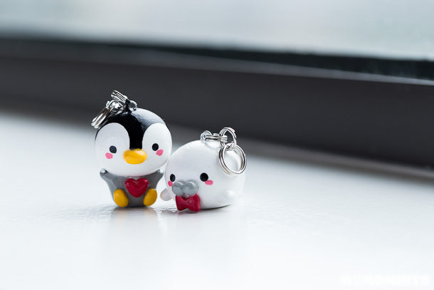 Custom Handmade Penguin and Whale Keychain Set