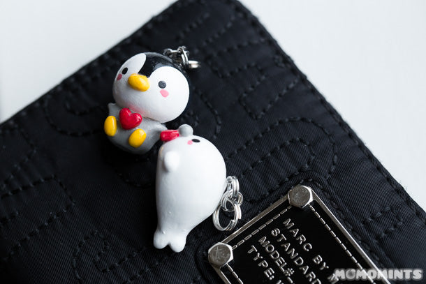 The cute polymer clay penguin and whale keycharm keychains