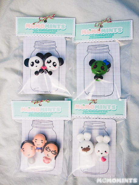 Custom Handmade Fridge Magnet Sets featuring Panda Bears, a Zombie Panda, a Family and Bunnies