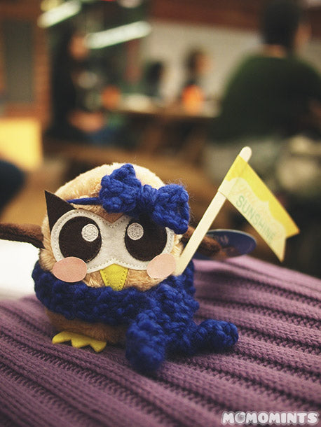 momomints' dressed up plush owly with hair bow, winter scarf and blushing cheeks!