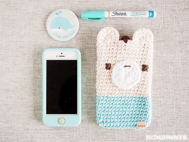 Blue Amigurumi Crochet Bear iPhone Pouch with Matching Accessories