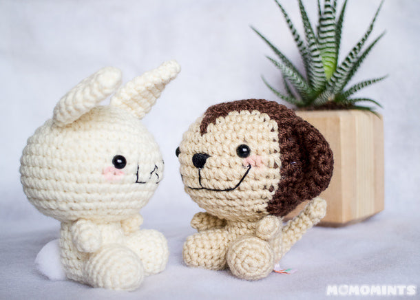 Cute Custom Handmade Amigurumi Crochet Bunny and Monkey Ja & Ju Stuffed Toys for Jubes Comic