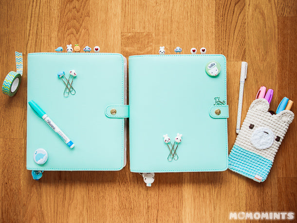 Decorating our Kikki K Mint Planner with Momomints Paperclip Organizer Bookmarks and Charms