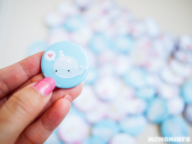 Momomints Narwhale Blue Button Pin