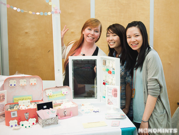 Lana of LanaBetty with the girls of Momomints at Lana's booth at the Portobello West Craft Fair in Vancouver