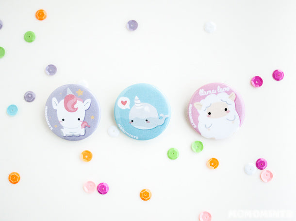 Momomints Cutesy Pastel Button Pins Featuring Unicorns, Narwhales and Llamas