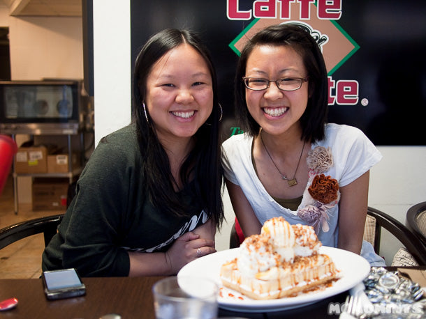 Rach & Eli of Onana Knits and their waffle from Le Petit Belge in Vancouver