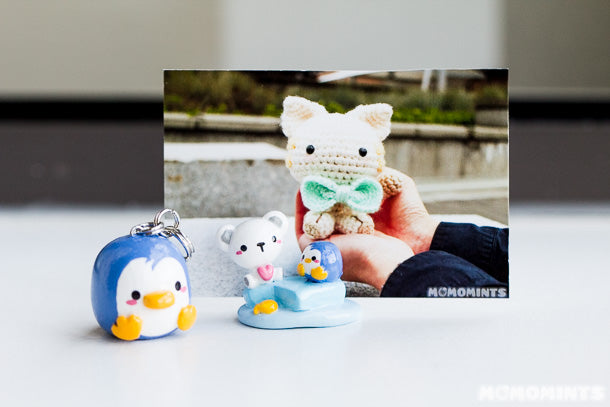 Polymer Clay Polar Bear and Penguin Instax Picture Holder with Penguin Keycharm Keychain