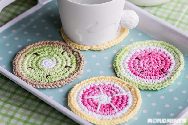 Momomints Handmade Crochet Fruit Coaster Set