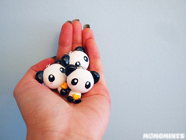Custom Gift Order of Panda Keycharm Keychains with Yellow Hearts