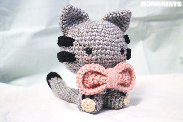 Custom Meowchi - Grey Amigurumi Cat with Pink Bow