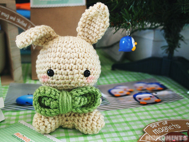 Our Amigurumi Crochet Bunny - momobunny with a Festive Green Bowtie