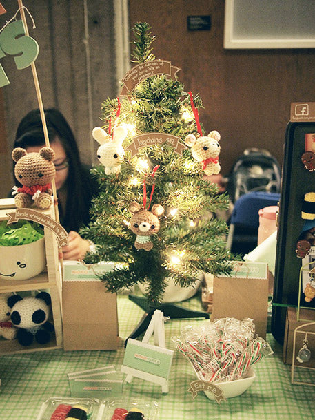 Our Craft Fair Booth Christmas Tree with Handmade Amigurumi Bear Ornaments