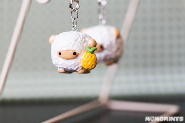 Custom Handmade Onanaknits Pineapple Sheep Polymer Clay Charm Keychain Set
