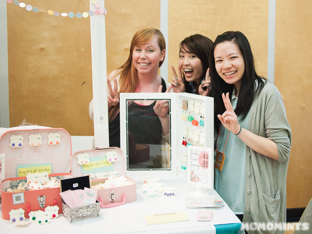 Lana of LanaBetty with the girls of Momomints having some fun at the Portobello West Craft Fair in Vancouver