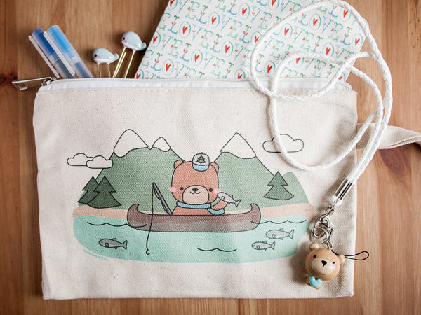 Fishing Bear with Salmon Zippered Bag