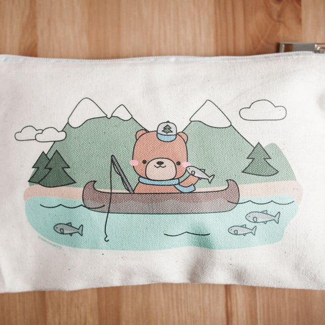 Salmon Fishing Adventure Teddy Bear Zippered Bag