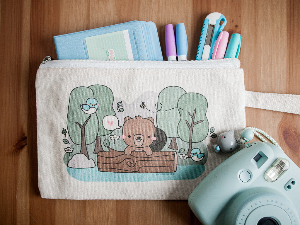 Canada 150 Cute Beaver in Forest - Mini Pencil Bag with Zipper