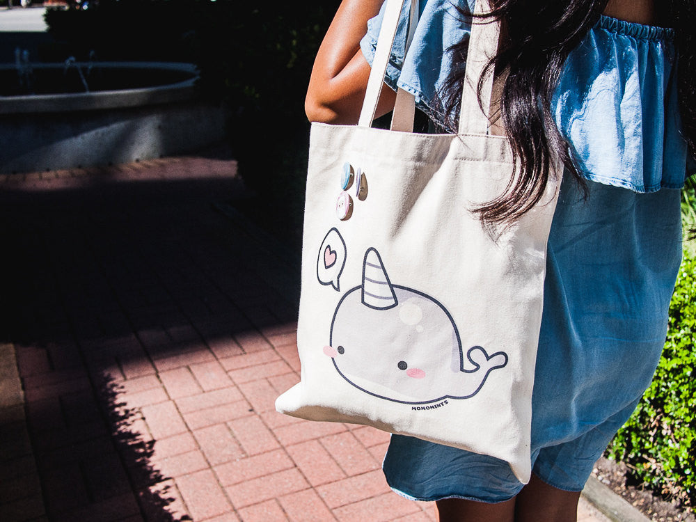 Cute Gray Narwhal with Heart Speech Bubble Canvas Tote Bag