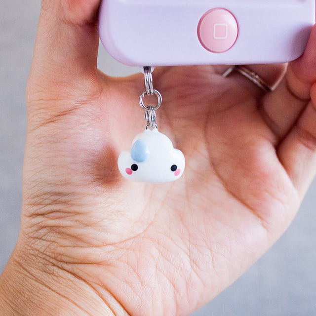 Cute White Cloud Charm Phone Plug Accessory