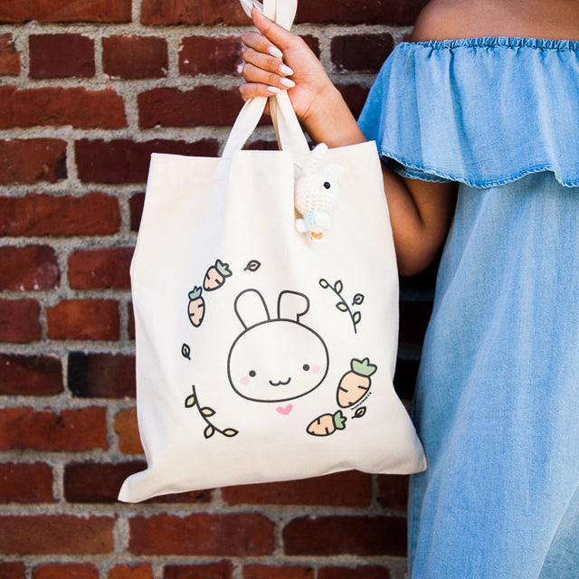 Bunny Rabbit with Carrots Canvas Tote Bag