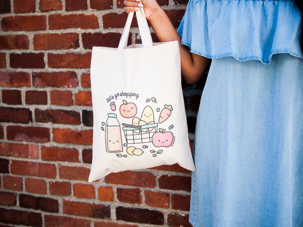 Cute Veggies and Fruit Grocery Shopping Canvas Tote Bag