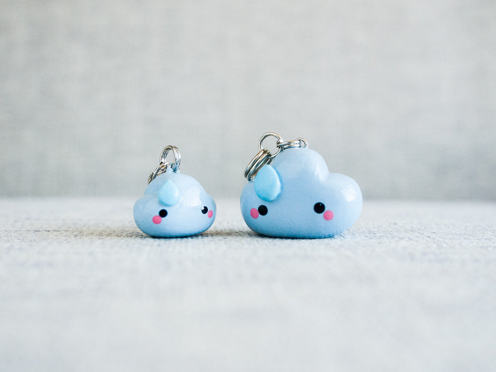 Blue Rain Cloud Charm Phone Plug Accessory