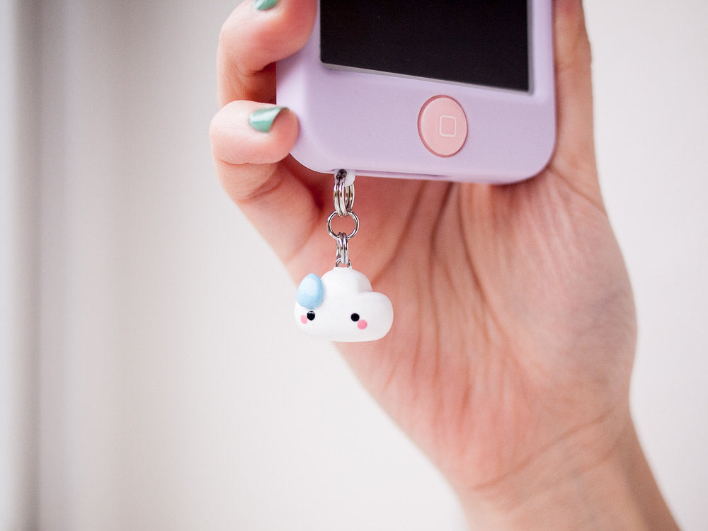 Awkward Rain Drop White Cloud Phone Jack Charm Accessory