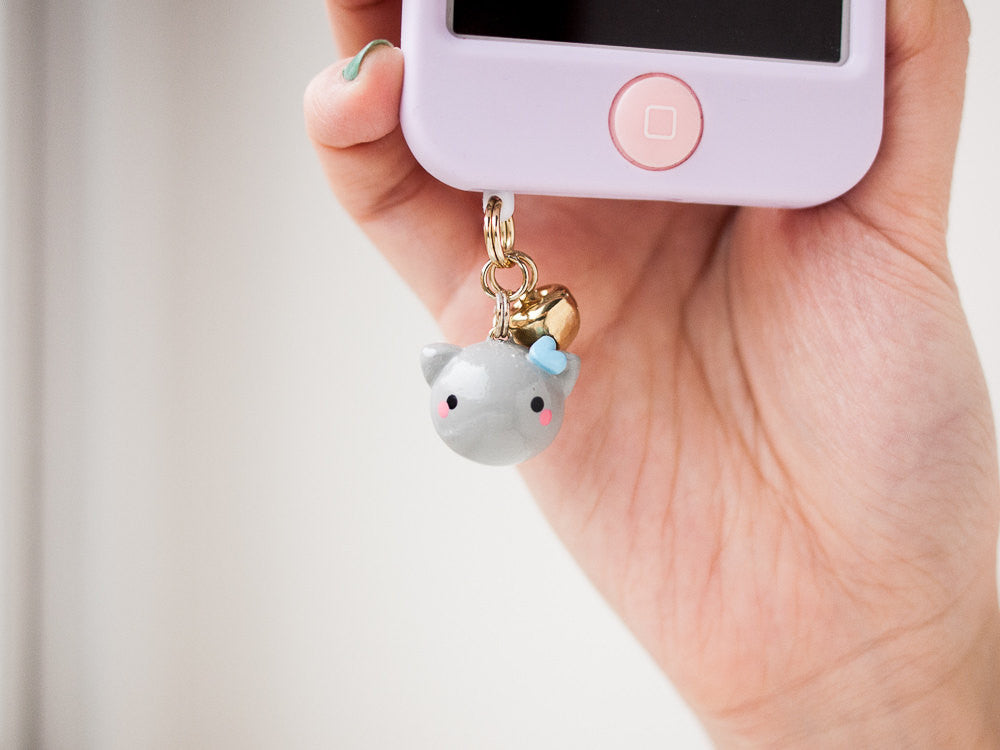 Blue Heart Gray Cat Charm Phone Plug Accessory with Bell