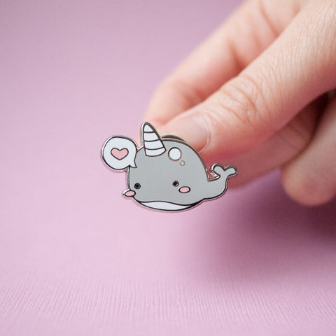 Cute Narwhal Whale with Heart Bubble Enamel Pin