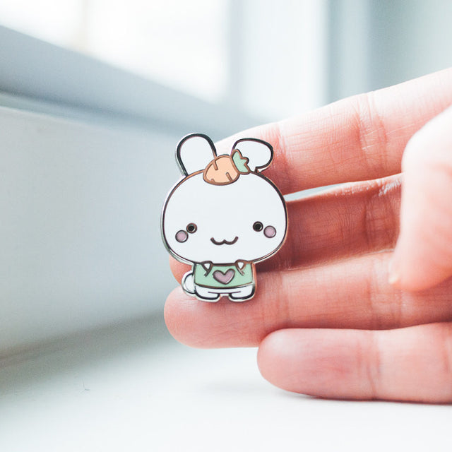 Cute Bunny with Carrot and Mint Shirt Enamel Pin