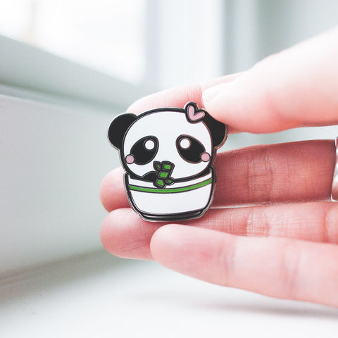 Cute Panda Bear with Bamboo in Rice Bowl Silver Enamel Pin