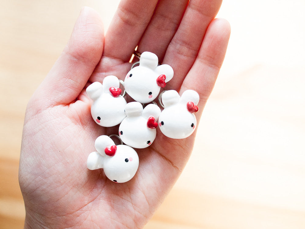 White Bunny Rabbit with Red Heart Phone Plug Charm Accessory
